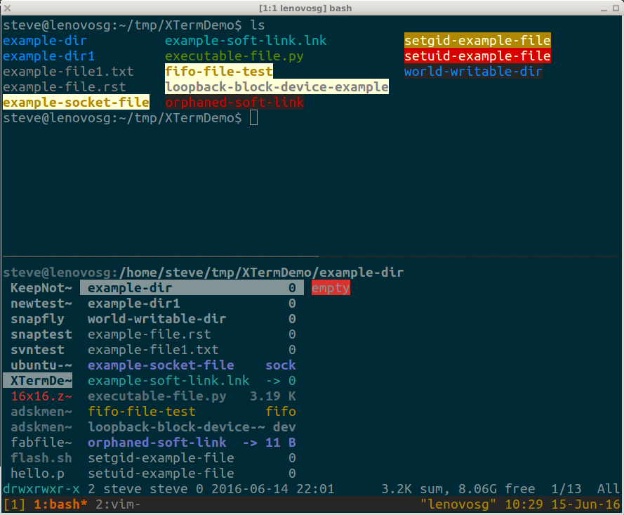 Solarized terminal theme, in an XTerm displaying ls and ranger