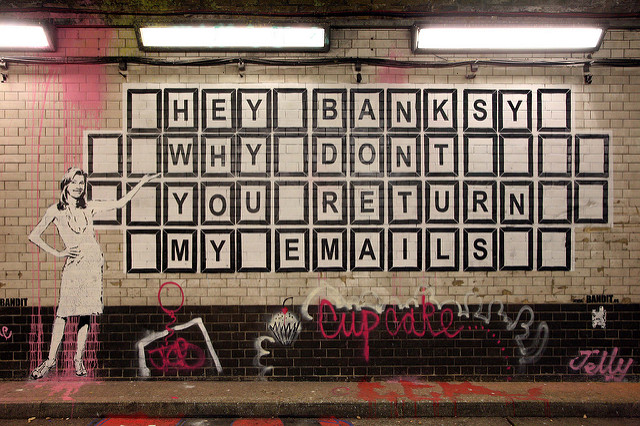 Graffiti asking Banksy to respond to emails