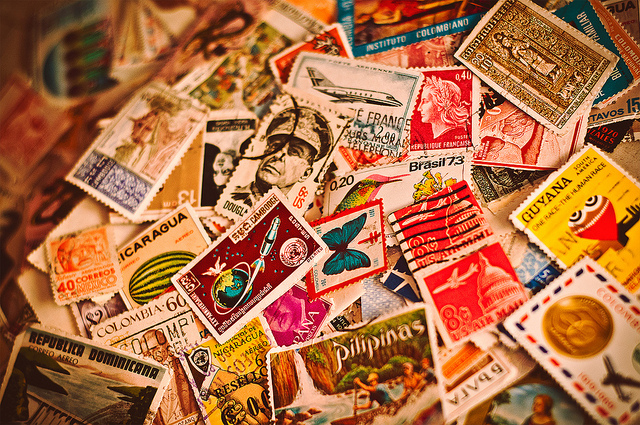 Piles of postal mail stamps