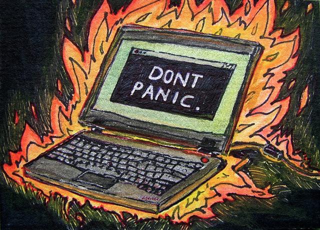 """Artist Trading Card - """"Don't panic"""" - flaming laptop"""