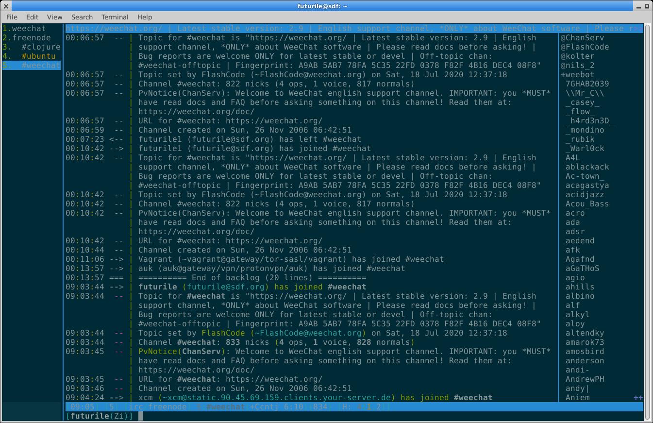 Weechat logged into Freenode IRC on #clojure, #ubuntu and #weechat channels