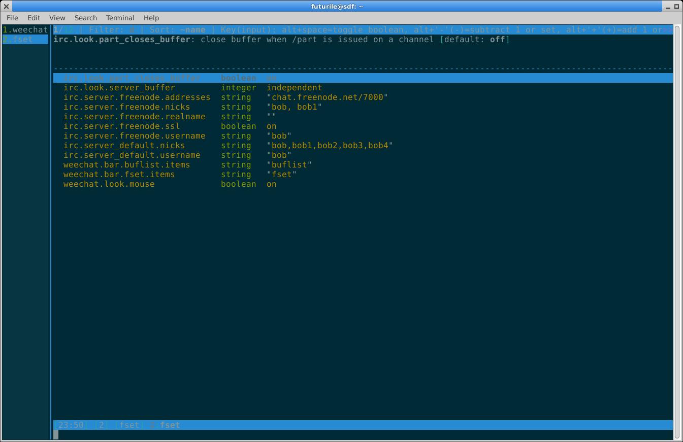 Basic settings needed for Freenode IRC server