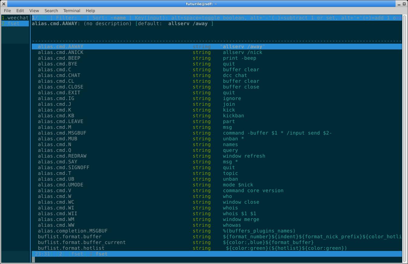 Settings buffer showing a long scrolling list of settings