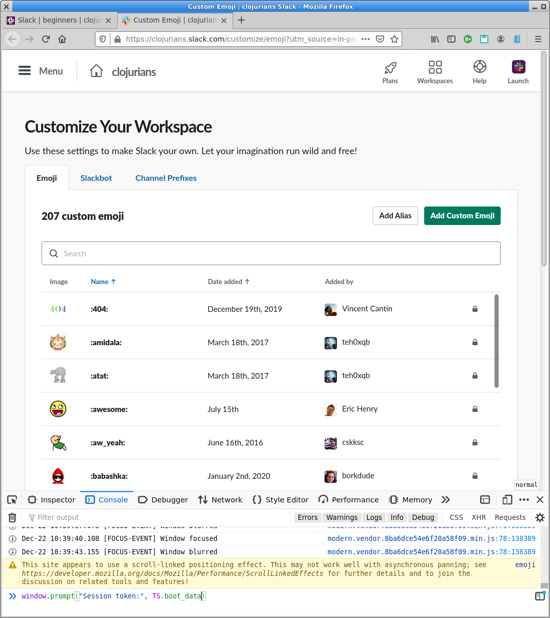 Firefox window with the developer console showing