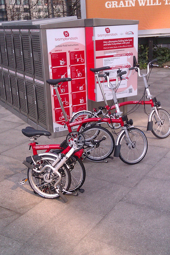 Brompton folding bikes for hire from Brompton dock outside Manchester train station