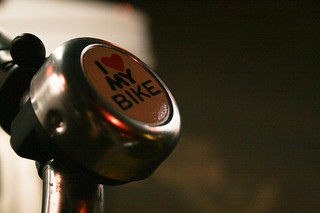 Bike bell ringer with I Love My Bike on it