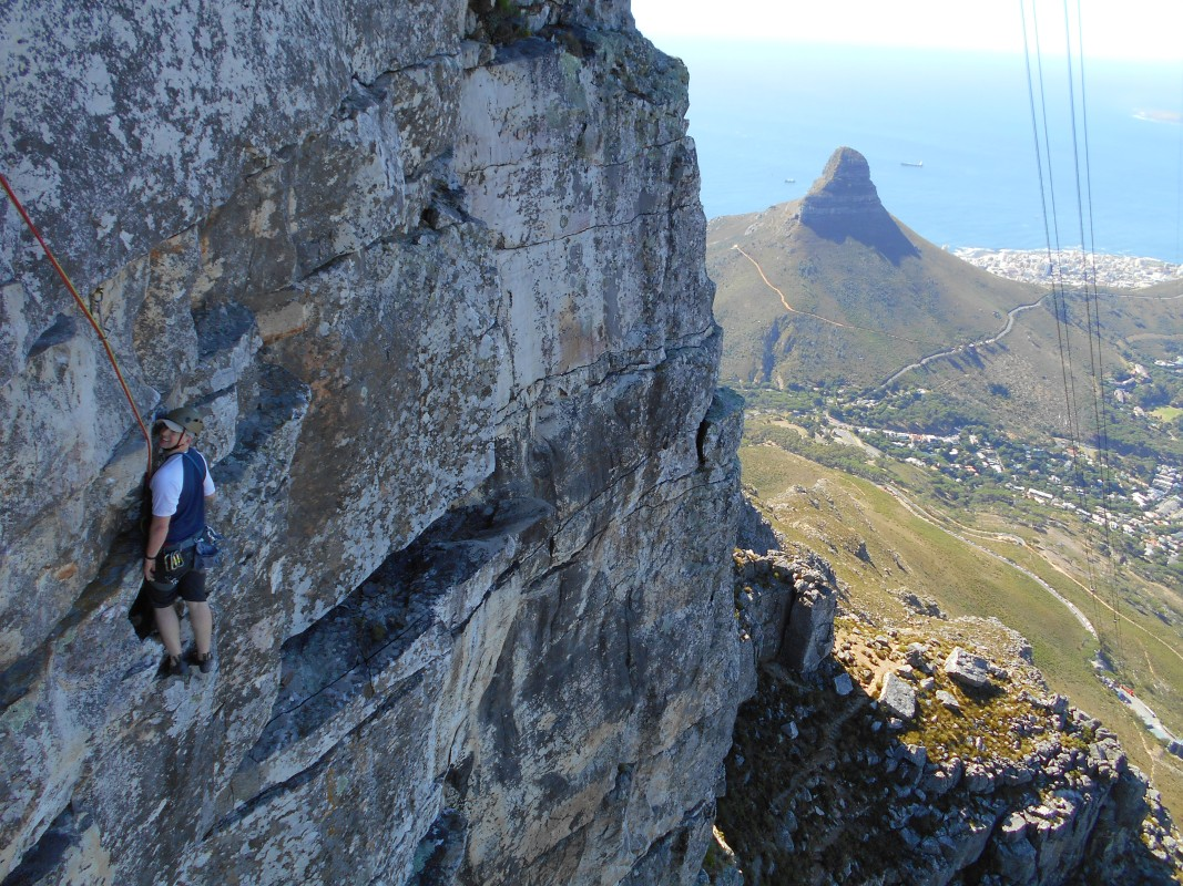 Climbing Table Mountain - view out towards Signal Hill